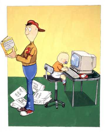 Confused Father With Baby At Computer