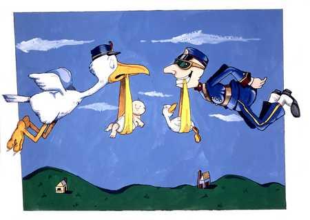 Stork And Mailman Delivering Babies