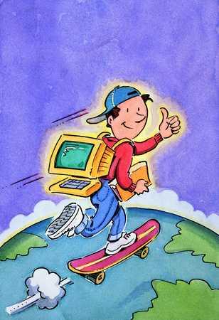 Computer Kid Skateboarding Over Earth