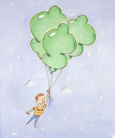 Man holding balloons, mid-air