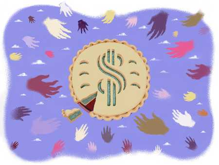 Hands reaching for money pie