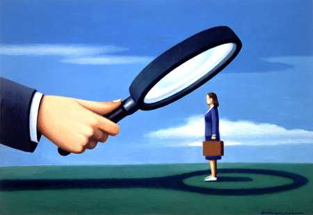 Woman Under Magnifying Glass