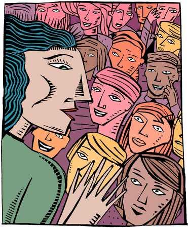 Figure addressing a crowd