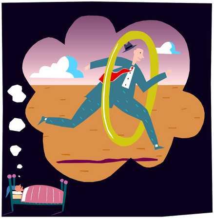 Man dreaming of jumping through hoops