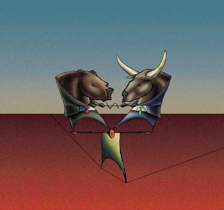 Bull And Bear On Man
