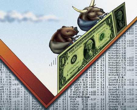 Bull And Bear With Dollar Bills