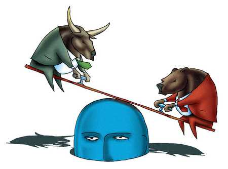 Bull and Bear On See-Saw