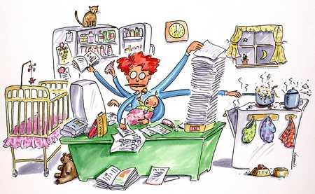Stock Illustration Multitasking Woman