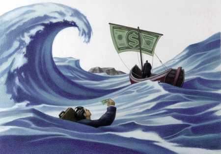Boat in financial waters