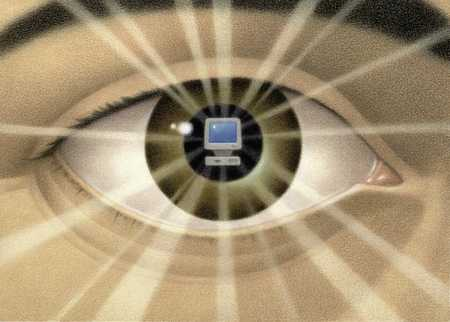 Large eye with computer at center