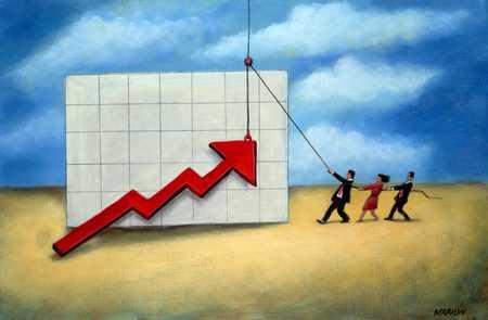 People Pulling Arrow Upward