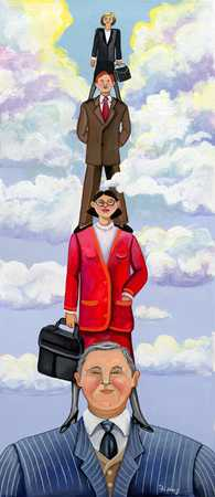 Businesspeople Standing On Shoulders