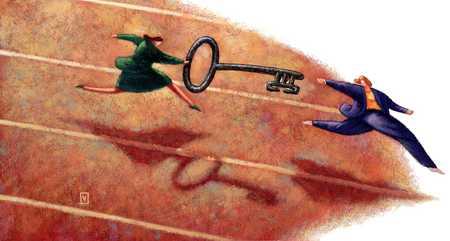 Woman Passing Key