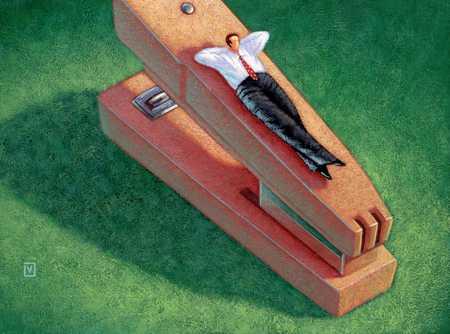 Man Relaxing On Stapler