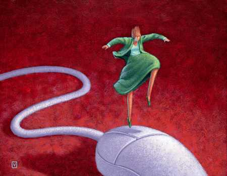Woman Jumping On Giant Mouse
