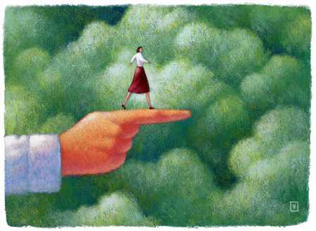 Woman Walking On Giant Finger