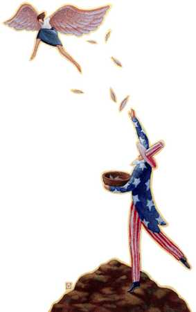 Woman Flying From Uncle Sam