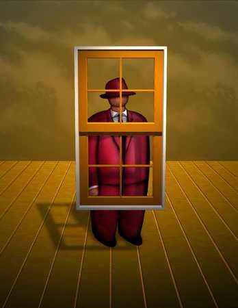 Figure Standing Behind Floating Window