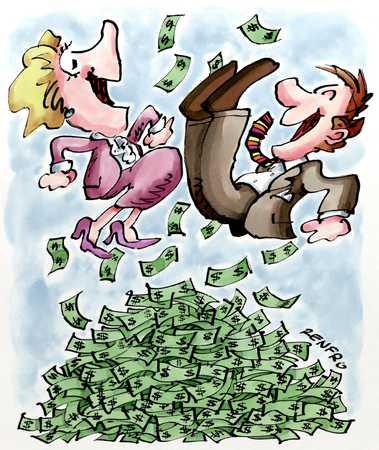 Figures In Pile Of Money