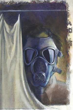 Man with gas mask behind curtain