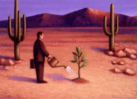 Businessman Watering Plant In Desert