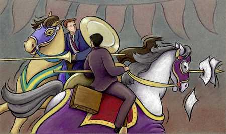 Businessmen Jousting