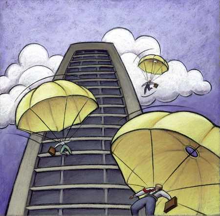 Businessmen Parachuting