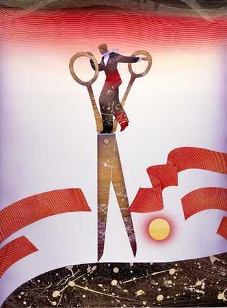 Figure Cutting Red Tape