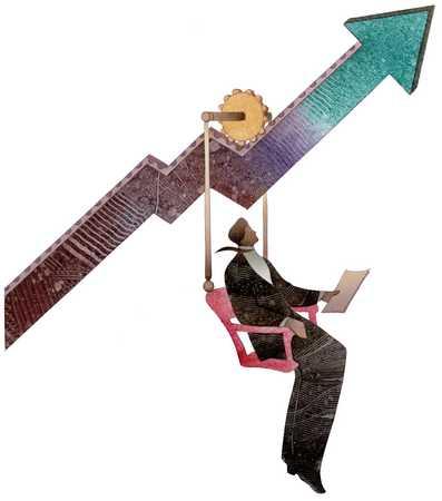 Man Riding Upward Arrow