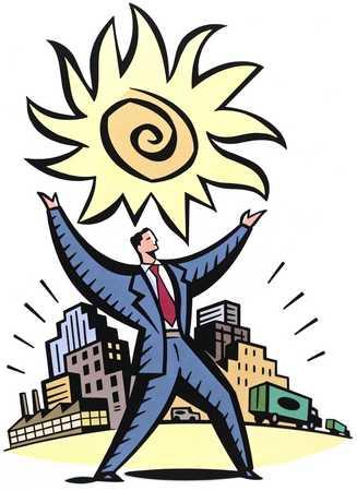 Businessman Holding Up Sun