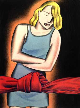 Woman And Red Cloth In Knot