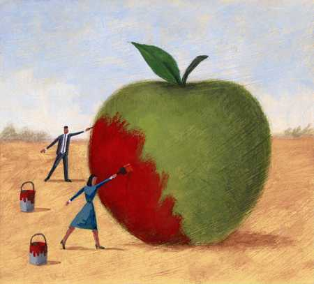 Painting Green Apple Red