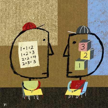 Children with homework in heads