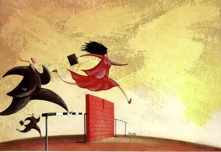 Woman Jumping Wall, Men Jumping Hurdles