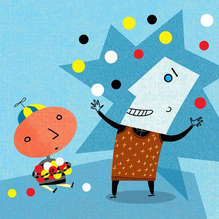 Entertainer juggling for boy