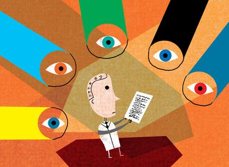 Various eyes looking at scientist