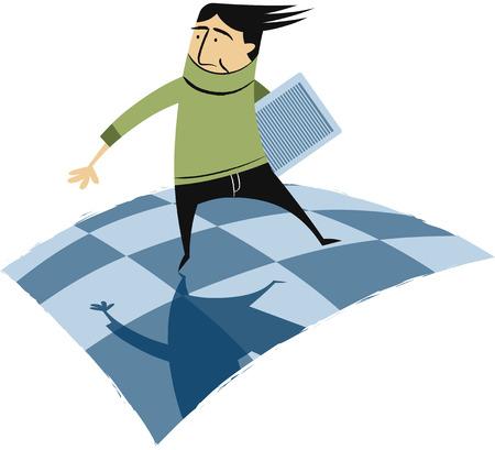 Man waking on checkerboard floor