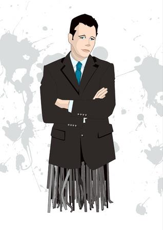 Businessman with shredded legs