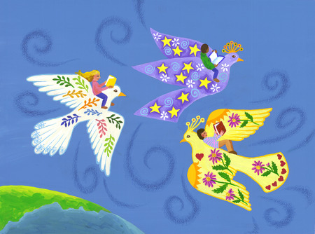 Multicultural children flying on birds and reading
