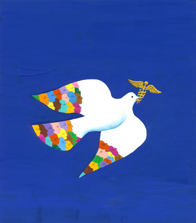 Multicultural dove carrying medical symbol