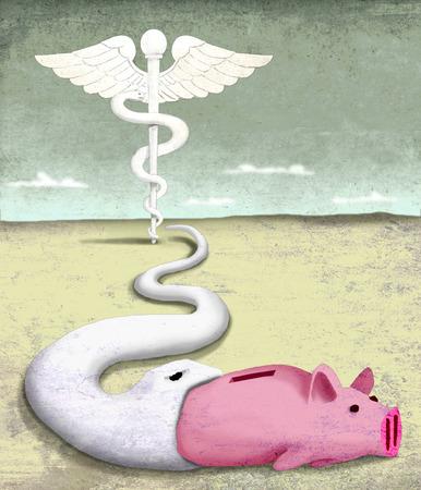 Healthcare snake eating piggy bank