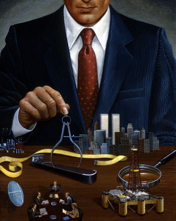 Businessman managing business