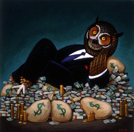 Owl businessman reclining on pile of money