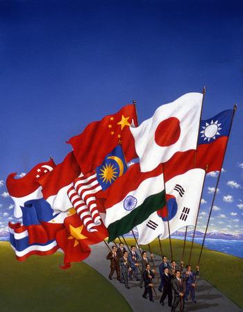 Businessmen carrying international flags