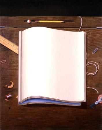 Blank notebook on desk