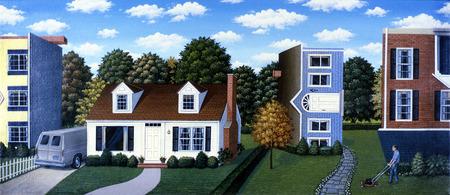 Sideways houses in neighborhood