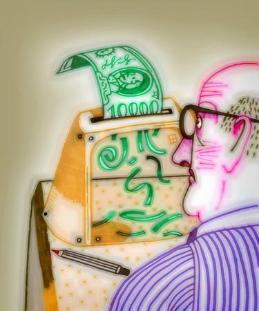 Man shredding paper money