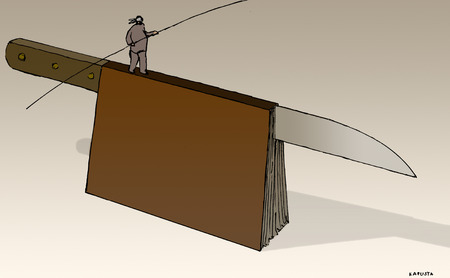 Man walking on knife book tightrope