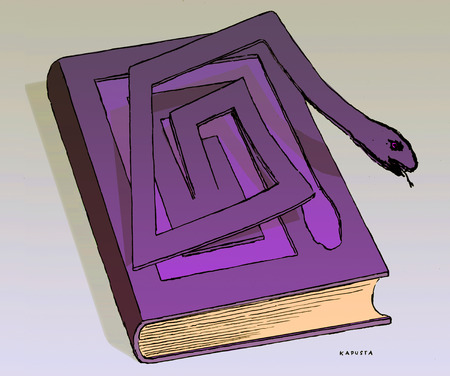 Snake emerging from purple book cover