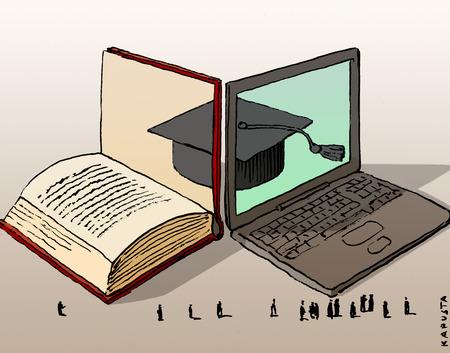 Book and laptop reflecting mortar board